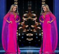 kadınlar için şifon elbiseler toptan satış-Miss USA Pageant Cape ile 2018 Abiye giyim Fuşya Şifon Boncuk Boyun Dalma Kılıf Kadınlar Arapça Örgün Giyim Ünlü Gelinlik Modelleri