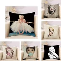 decorações do quarto de marilyn monroe venda por atacado-Retro Nostalgia Marilyn Monroe Fronha Sofá Janela de Linho de Algodão Quarto Sofá Capa de Almofada Decoração de Casa Bardian 5qt KK