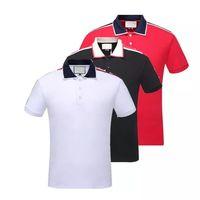 tasarımcılar polo gömlekleri toptan satış-Yaz 18ss tasarımcılar etiketi yılan baskı giyim erkekler kumaş mektubu polo g t-shirt yaka casual kadın tişört tee gömlek tops 998
