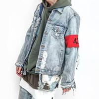 Wholesale mens wind jackets - PARKSIDE WIND 424 Broken Holes Denim Jacket Men Hip Hop Ripped Oversized Mens Denim Jacket 424 destoryed Jackets Coats SMC0280-5