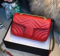 haberci çanta desen toptan satış-Lüks Klasik Hakiki Deri Lady Messenger Çanta Moda Aşk kalp V Dalga Desen Satchel Tasarımcı Omuz Çantası Zinciri Çanta Çanta