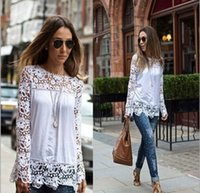 4438c5f573103 New Fashion Womens Lace Chiffon Shirts Long Sleeve Loose Blouse Casual Shirt  Lady Plus Size M-4XL Summer Blouses Tops Shirt
