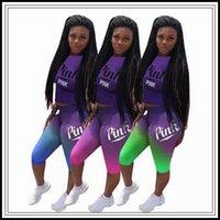 Wholesale denim shirt women - 3 Colors PINK Letter Women Clothing Tracksuit T-Shirt Top Tees + Shorts Pants Two Pieces Set Summer Gradient color Outfit CCA9901 12set