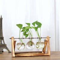 Wholesale Bamboo Plants Vase - Creative Hydroponic Plant Transparent Vase Wooden Frame Coffee Shop Room Decr