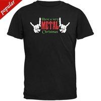 ingrosso anti corno-Stampa T-Shirt T-Shirt di Natale Stampa corti Heavy Metal Nero Maglietta per adulti Novità Tee Spedizione gratuita