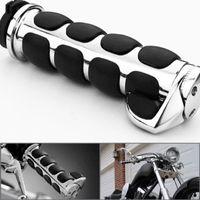 "Wholesale Motorcycle Handlebar Grips Black - 2x Chrome Billet Aluminum Bar End Cap Black Soft Gel Rubber Hand Grips Rest Fits Custom Motorcycle 7 8"" Handlebar MOT_400"