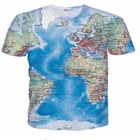 mens ince sığan denim gömlek toptan satış-Tasarımcı Deniz Harita 3D T Gömlek Yeni Moda Gelgit Erkek Tshirt Mens Okyanus Baskılı T-shirt Marka Slim Fit Elastik Tee Tshirt üst