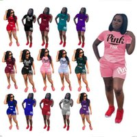 Wholesale plus size women clothing shirts - Love PINK Women Shorts Suit 2pcs Tracksuits Jogger Outfits Set Pink Letter Short Sleeve T Shirt+Shorts Plus Size Summer Outwear Clothes