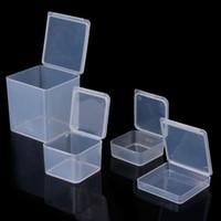 cajas de almacenamiento de cuentas al por mayor-Pequeñas cajas de almacenamiento de joyería de plástico transparente cuadrado cuentas cajas de artesanías contenedores