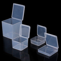 recipientes de armazenamento de grânulos de plástico venda por atacado-Pequenos Quadrados De Plástico Transparente Jóias Caixas De Armazenamento De Contas Beads Ofícios Caso Recipientes