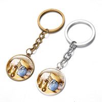 Wholesale peters jewelry resale online - Anime Peter Rabbit Keychain Cute Rabbit Photo Time Gem Childlike Key Ring Holder for Children Birthday Gifts Kids Jewelry