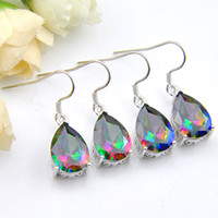 Wholesale forward shipping - 2 Color Optional 5 Pcs Lot New Arrival Mexican Women's Fashion-forward Hot Sell 925 Silver Mystic topaz Earring -free Shipping