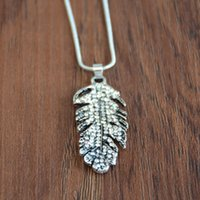 Wholesale feather necklace set resale online - Leaf Jewelry Set Rhinestone Flower Leaves Feather Jewelry Set