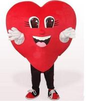 traje de coração adulto venda por atacado-Venda direta da fábrica Amor Red Heart Mascot Costume Halloween Festa de Casamento coração vermelho dos desenhos animados Traje Fancy Dress Adulto Crianças Tamanho