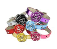 Wholesale dog collar online - Graceful pets collar dog cat rose collar adjustable PU flat belt with crystal pet necklace color pets supplies free ship