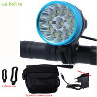 fahrrad lichter lumen großhandel-Walkfire Wasserdicht Fahrrad Licht Scheinwerfer 20000 Lumen 12 x XML T6 LED Fahrrad Radfahren Kopf Licht + 18650 Akku + Ladegerät
