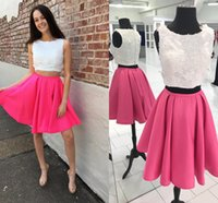 Wholesale Pink Aline Homecoming Dress - Light Sky Blue Satin Homecoming Dresses Scoop Neck Sleeveless Lace Aline Two Piece Short Prom Dresses Fashion Party Dresses