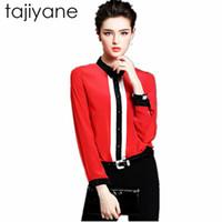 uzun kollu polo korece toptan satış-TAJIYANE Kadınlar Vücut Bluz Gömlek Uzun kollu Polo Beyaz Kırmızı Siyah Bahar Sonbahar Kadın Giyim kore Iş Elbisesi Yeni LD162 Tops