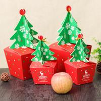 weihnachtsgeschenk geschenkboxen großhandel-50 teile / los Weihnachtsbaum Verpackung Box Cupcakes Dessert Cookies Süßigkeiten Geschenk Apfel Box Mit Glocken Goldene Schnur Festival Geschenk Tasche