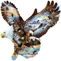 ingrosso ritratti di pittura della camera da letto-5d Diy Diamond Painting Flying Eagles in bianco e nero ritratto Punto croce pieno ricamo quadrato Diamante Mosaico modello