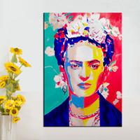 ingrosso dipinti decorazione chitarra-Frida kahlo Canvas Painting Figure Oil Painting Stampa su tela Immagini a parete per soggiorno Poster e stampe