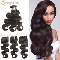 Wholesale Baby Wholesale Supplier - Unprocessed Raw Temple Indian Virgin Human 3 Hair Bundles With 4x4 Closure Body Wave 1B Color With Baby Hair Supplier Queenlike 7A Silver
