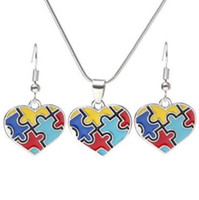 Wholesale colorful diamond earrings for sale - Group buy Autism Awareness Puzzle Jigsaw Jewelry Set Colorful Fashion Square Diamond Charm Necklace Earring Set Bracelet Jewelry CCA9197