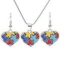juegos de rompecabezas de metal al por mayor-Concienciación sobre el autismo Juego de joyas de rompecabezas colorido de moda cuadrado de diamantes Charm Necklace Earring Set pulsera joyería CCA9197 100 unids