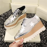 Wholesale high heels wedges bows resale online - wedding party Lady star platform shoes high wedge platform single stella shoes height Increasing strappy leather Stars Shoes online