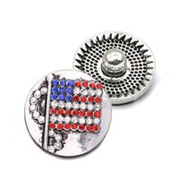 High quality Flag W248 18mm 20mm rhinestone metal button for snap button Bracelet Necklace Jewelry For Women Silver jewelry