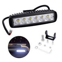 Wholesale waterproof boat led lights - LED Light Bar With Single Row 6 LED Lights 6Inch 18W 6500K IP67 Waterproof Working Light Bar For SUV Truck Boat