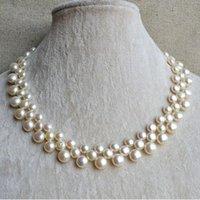 ingrosso perle originali per il matrimonio-Perla perfetta compleanno gioielli di perle, collana di perle d'acqua dolce genuini di colore bianco 3Rows 6-9mm, nuovo trasporto libero