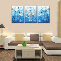 Wholesale Peacock Oil Painting Framed - Wall Art Canvas Painting 3D Peacock Animal Canvas and Blue Vivid Plum Blossom of Vase Picture Print on Canvas Stretched and Framed Home Deco