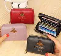 Wholesale print small photos - Fashion Bees Design Women Wallet Genuine Leather Cowhide Lady Credit Card Holder Female Wallet small Coin Purse