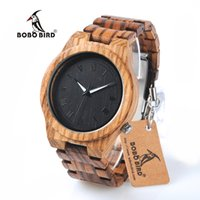 ingrosso orologi in legno-Lusso 2017 BOBO BIRD Orologi Uomo Zebra Legno Cinturino Orologio Da Polso Cinturino In Quarzo Orologi Regali relogio masculino C-M30