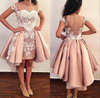 alta saia baixa vestidos formais venda por atacado-Sheer Malha Top Homecoming Prom Vestidos Lace Applique Sobre Saias Formal Alta Baixa Sheer Voltar Curto Partido Vestidos Com Botões