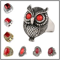 Wholesale stone rings designs men - Fantastic 150 Designs Punk Style Ring Retro Glass Turquoise Resin Sliver Gold Plated Rings Alloy Jewelry for Women Men