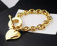 Wholesale ot bracelet for sale - Group buy New titanium steel fashion double peach heart OT buckle thick couple bracelet K rose gold OT buckle thick circle ladies bracelet chain len