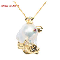 Wholesale real silver lockets resale online - SNOW COUNTRY Parrot Unique Pendant For Female S925 Sterling Silver Necklace Real Freshwater Pearl Cute Gift