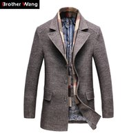 8e89e60ec5b3c 2018 Winter Men s Casual Wool Trench Coat Fashion Business Long Thicken Slim  Overcoat Jacket Male Peacoat Brand Clothes 1717