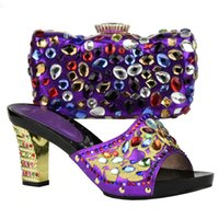 Wholesale Matching Shoe Bag Purple - Shoes and Bag Set African Sets Gold Color Ladies Matching Shoe and Bag Set Decorated with Rhinestone High Quality Women Pumps