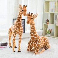 Wholesale stuffed giraffe plush toy - Wholesale-80cm Simulation Plush Giraffe Toys Cute Stuffed Animal Dolls Soft Giraffe Doll High Quality Birthday Gift Kids Toy