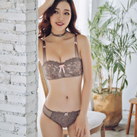 ingrosso biancheria intima ragazza bianca piccola-Reggiseno sexy Set pizzo bianco Push Up 1/2 tazza push up Lingerie Set moda Emobroidery ragazze piccole Intimo Ladies Intimates