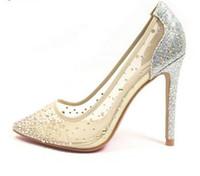 kristall verzierte hochzeit schuhe großhandel-Nude Transparente Spitze High Heels Frauen Einzelne Schuhe Bling Studded Kristall Frauen Pumpt Spitz Braut Hochzeit Schuhe