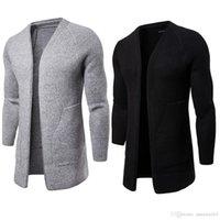 venta de algodón mezclado suéteres al por mayor-V-cuello del nuevo diseñador de Cardigan suéter de los hombres' suéter largo con la manga larga de algodón de alta calidad Mezcla de punto de invierno para hombre de suéter para Ventas