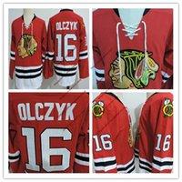 schwarze falken trikots großhandel-Günstige Herren Chicago Blackhawks ED OLCZYK VINTAGE Trikots genäht # 16 ED OLCZYK Schwarze Falken 1999 Spiel getragen Red Hockey Jersey S-3XL