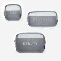 Wholesale mesh cosmetics bags for sale - Group buy Travel Nylon Net Eye Storage Bags Luxury Pattern Shopping Mesh Bag Women Cosmetic Wash Makeup Classic Exquisite nm3 jj
