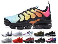 super popular 1e30e 91c86 2018 nike air max vapormax tn off white airmax flykni tn plus zapatos Grape  Volt Hyper Violet Blue Hombres mujeres Zapatillas de running Triple blanco  Negro ...