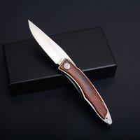 satin en bois achat en gros de-Nouveau CR Mini Petit Couteau Pliant 440C Lame Satin Bois + Acier Poignée Couteaux EDC Avec Gaine En Cuir