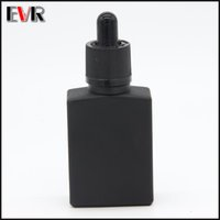 Wholesale black glass dropper bottles - wholesale e cig liquid 15ml 30ml square matte black glass dropper bottle with childproof and tamper evident cap